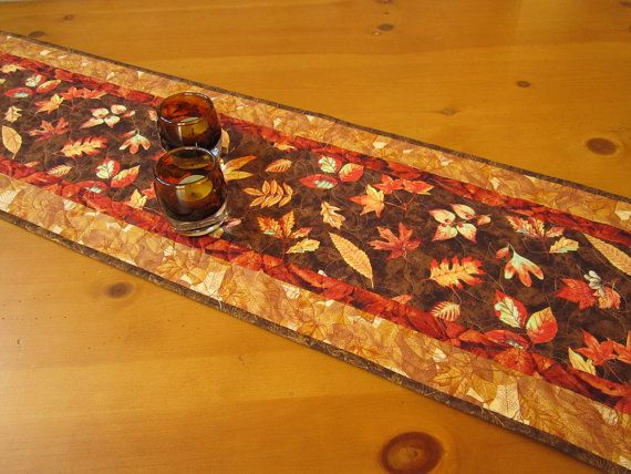 Etsy for Falling by on Leaves PatchworkMountain  fall Runner Table runners table
