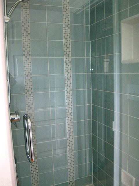 Original Bathroom With Tile And Custom Vertical Tile Borders More