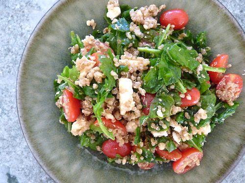 ... with quinoa. Quinoa arugula salad with grape tomatoes and feta