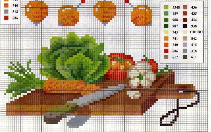 Схема вышивки крестом фрукты или овощи 934