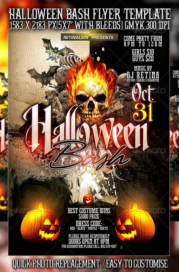 halloween bash flyer template psd posters flyers pinterest. Black Bedroom Furniture Sets. Home Design Ideas