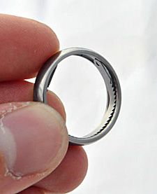 TITANIUM ESCAPE RING - contains a saw and handcuff shim pick combination tool which is completely hidden from view when worn. Located on a finger, its always in the exact area needed to quickly access and deploy, even when handcuffed. The shim can be used to open single-locked handcuffs, while the saw can cut zip-ties, disposable handcuffs, duct tape, rope, and other non-metallic materials.