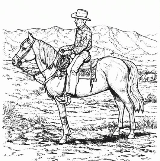 Cowboy Riding Horse Coloring Page