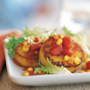 Polenta, Tomato and Corn Salad--need to make this at next sleepover!