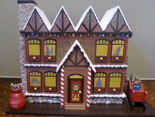 Wooden Gingerbread Christmas House Advent Calendar with drawers, 19x1 ...