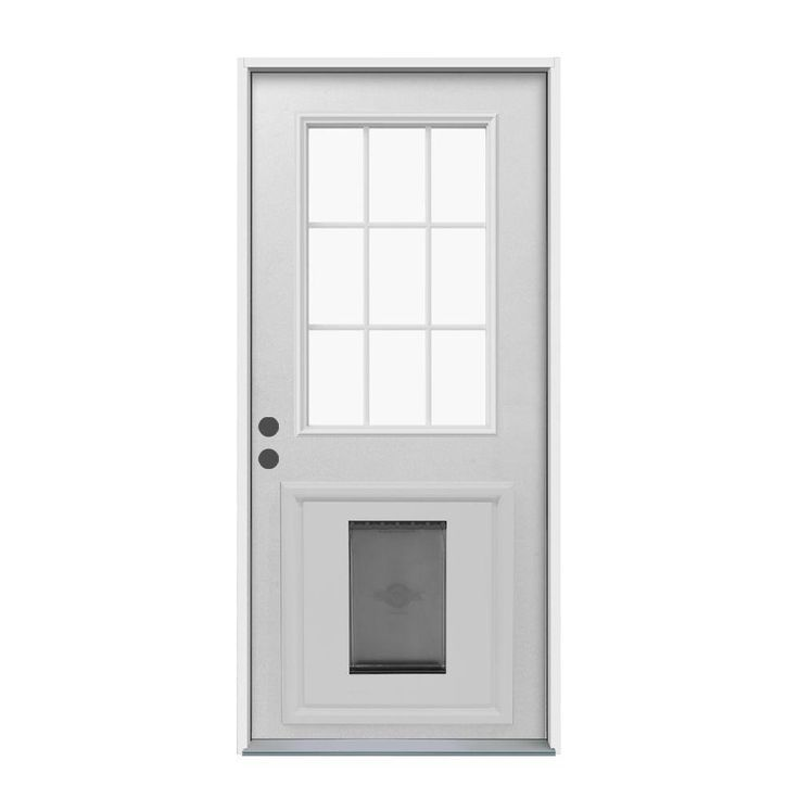 Jeld wen door 9 lite primed white steel entry door with for Prehung entry door with storm door