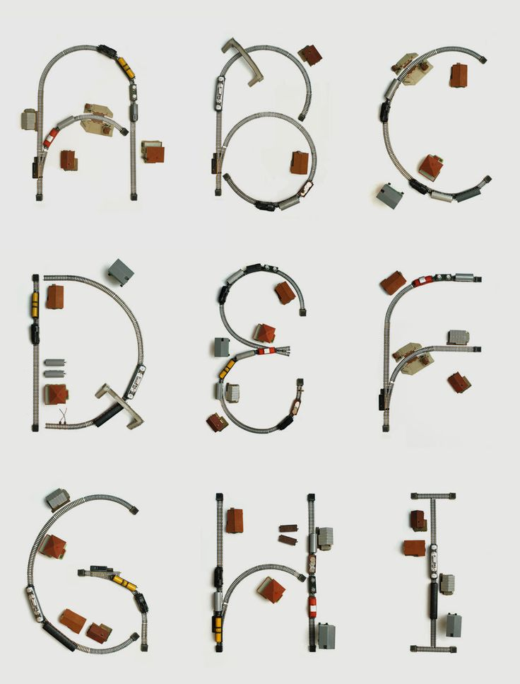 Train Set Typography | Self-initiated typography experiment where I used an old train set, found in my grandmother's basement as the basis for creating letters. | Designer: Bureau Bruneau | Image 3 of 6
