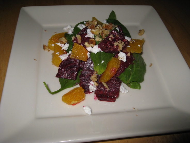 Spinach and Beet Salad with Goat Cheese, Walnuts and Orange Segments