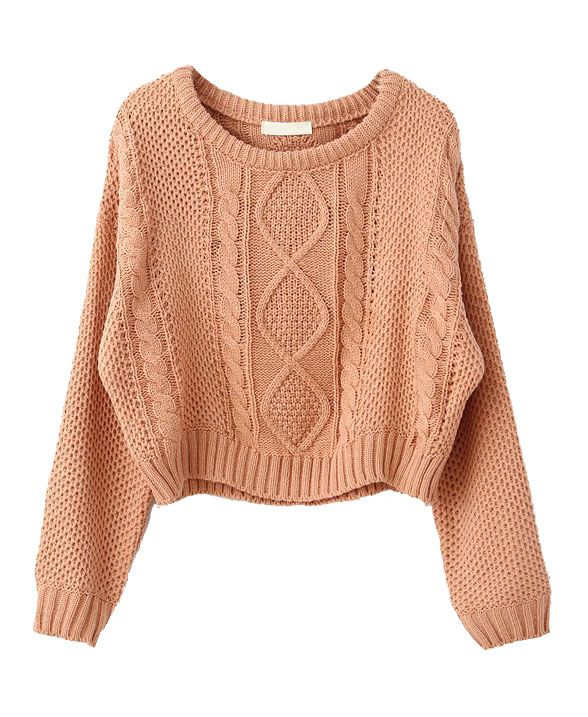 Cropped Jumper Knitting Pattern : Cable Knit Cropped Sweater