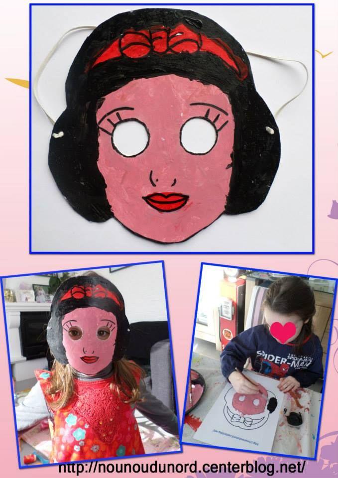 Annalisa qui adore blanche neige a choisi de faire ce masque pour le carnaval, masque à imprimer sur mon blog