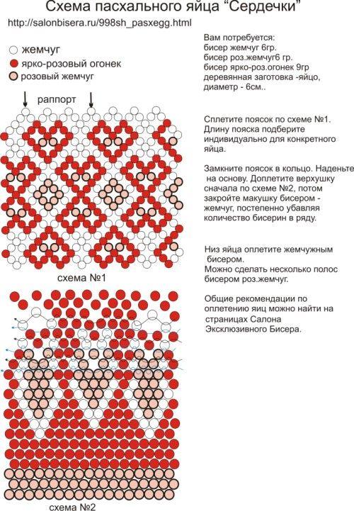 Схема плетения пасхальных яиц бисера