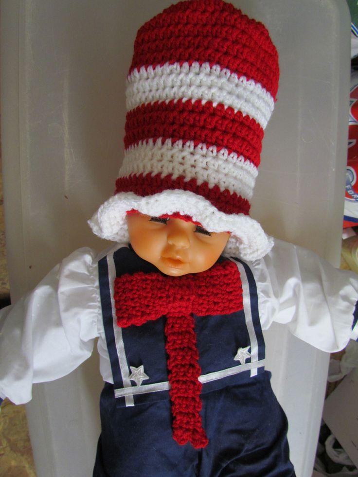 Cat in the hat top hat and tie | My Crochet Work | Pinterest