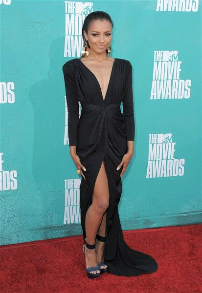 Kat Graham arrives at the MTV Movie Awards in Los Angeles on June 3, 2012.