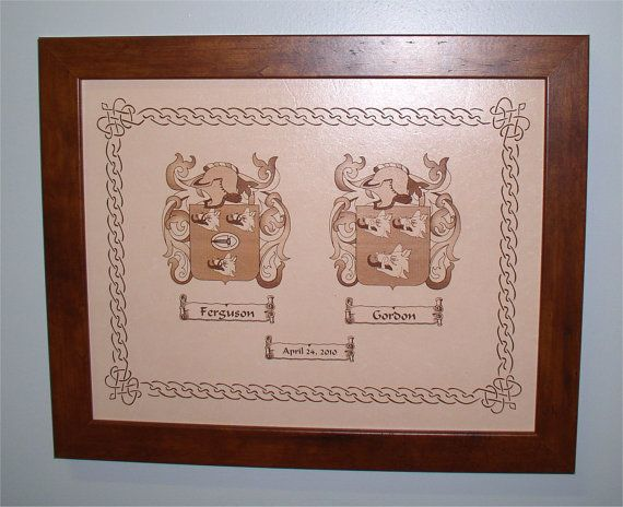 Dual Family Crests Burnt in Leather with wedding date and wooden frame ...