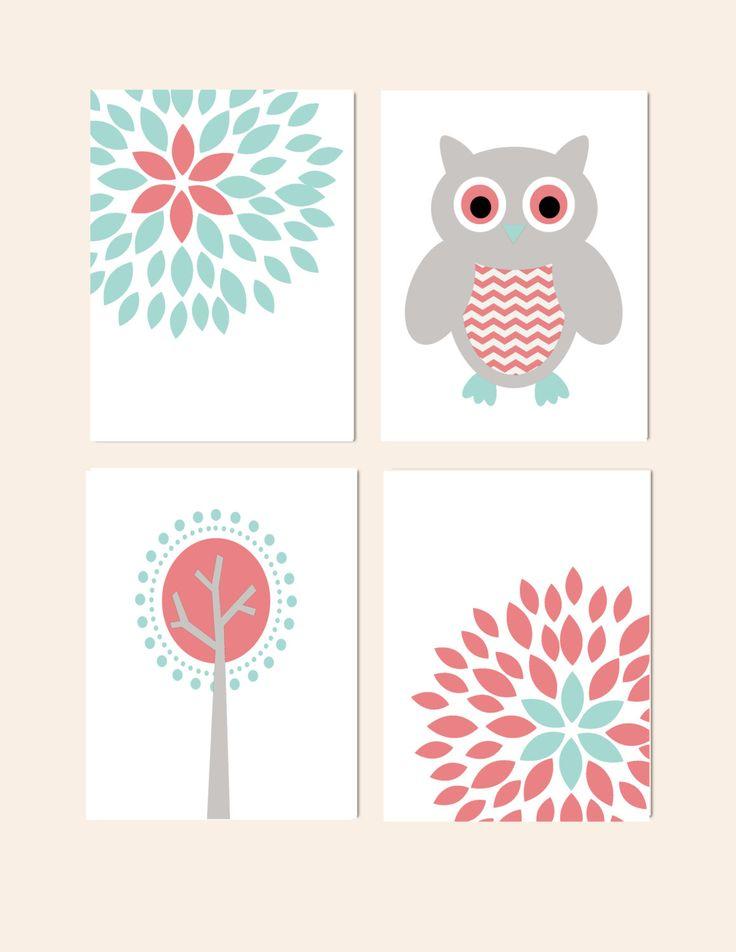 Nursery Wall Decor Set : Nursery wall decor prints for girls set of
