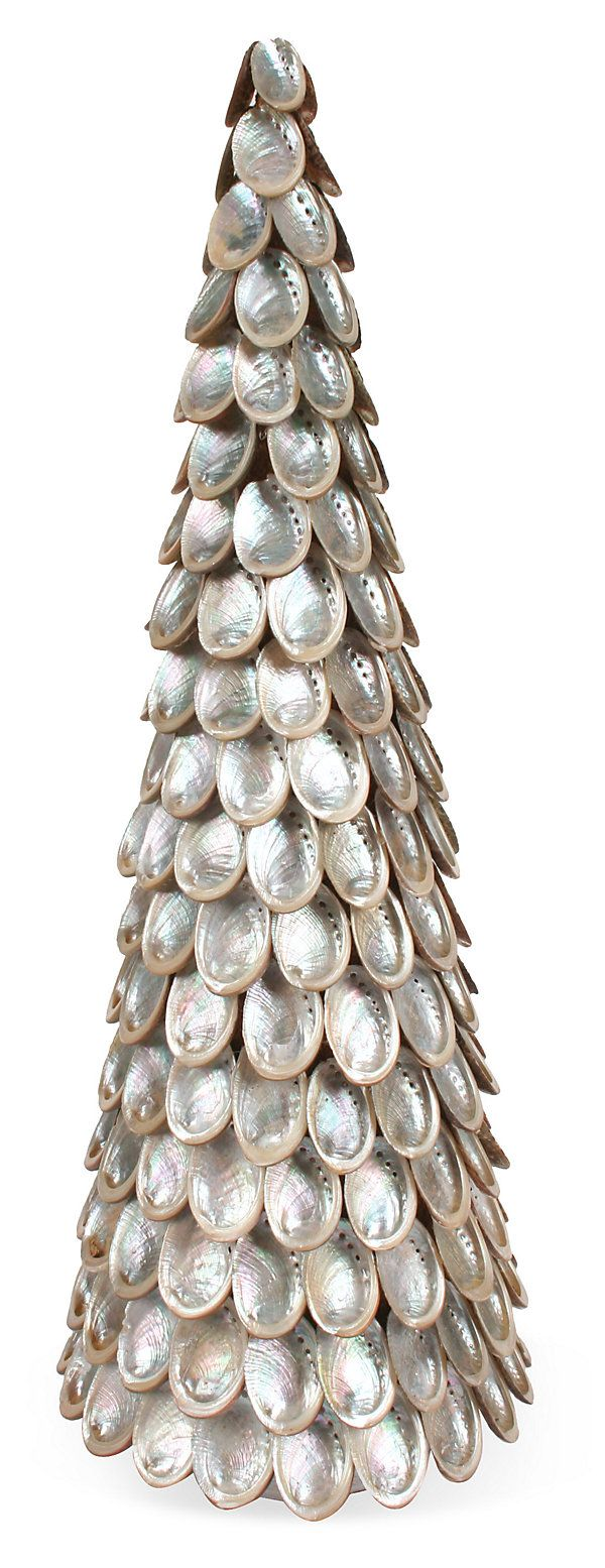 18 abalone shell cone tree silver