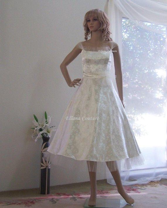 Raisel romantic vintage inspired tea length wedding dress 395 00