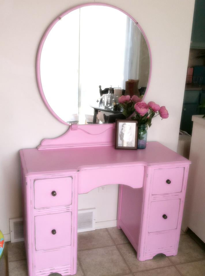 Antique 1930s Makeup Vanity Refinished Distressed Pink