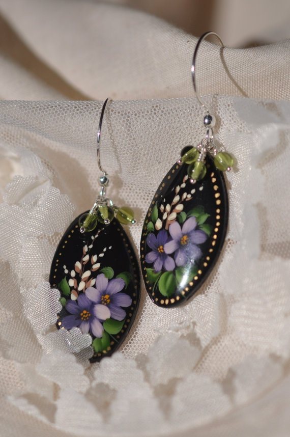 Earrings hand painted paper mache sterling silver earrings for How to make paper mache jewelry