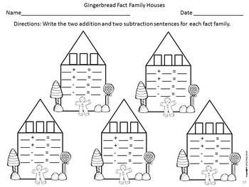 Fact+Family+Practice Gingerbread Houses: Fact Family Practice