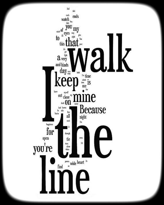 Walk the line lyrics johnny cash word art print by no9images 15 00