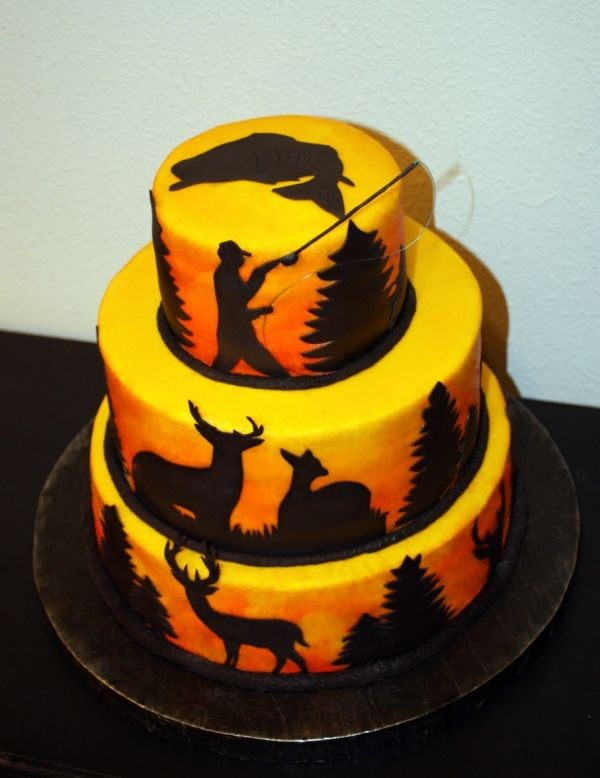 Hunting & Fishing Fan Cake. Butter cream air brushed for a sunset effect. Fondx Elite silhouettes hand cut.  For Buck