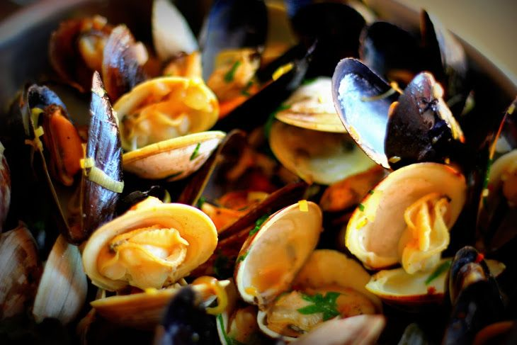 Steamed Mussels and Clams in White Wine Recipe Main Dishes with ...