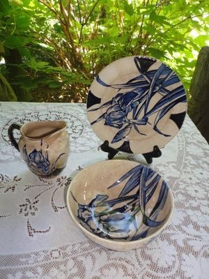 BURROUGHS Mountford FLOW Blue IRIS pitcher creamer, bowl, plate