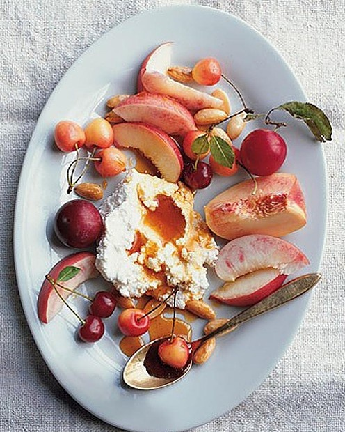 Stone Fruits with Honey-Drizzled Soft Cheeses and Toasted Almonds, via ...