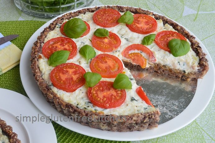 Caramelized onion and herbed ricotta tart with rice crust