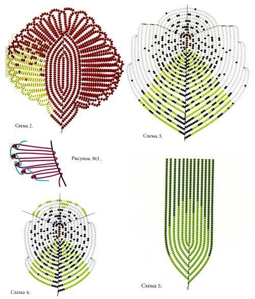 схема плетения листьев из бисера