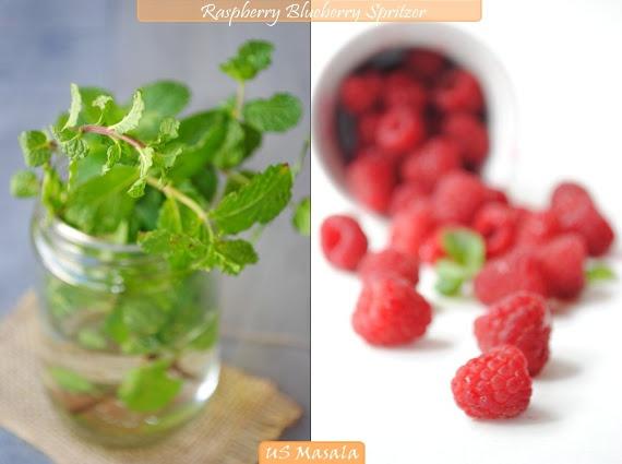 US Masala: Minty Raspberry and Blueberry Spritzer!