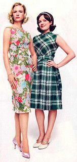Betty Draper sheath flower dress, Peggy in plaid