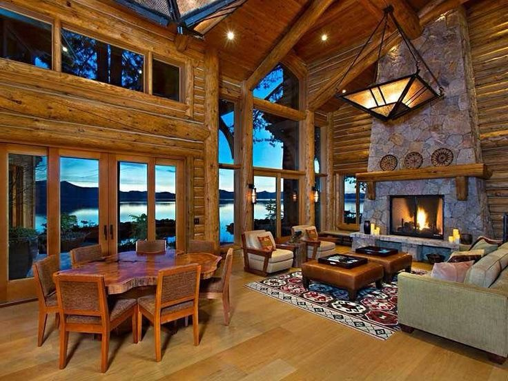 Log Cabin Great Room Rustic Home Pinterest