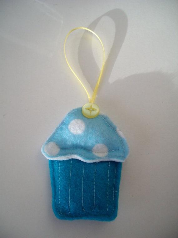 Mini Blue Felt Cupcake