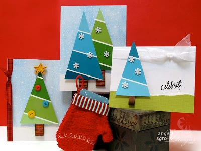 Christmas Tree cards made from paint card swatches #kids craft