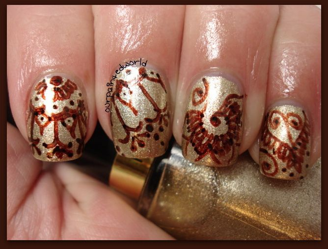 Henna Design For Nails Using Sharpie Markers  India Inspired Designs  Naile