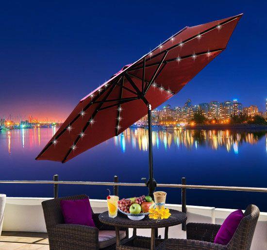 Led Lights For Patio Umbrella : Outdoor Solar 24 LED Light Patio Deck Shade Market Umbrella wTilt