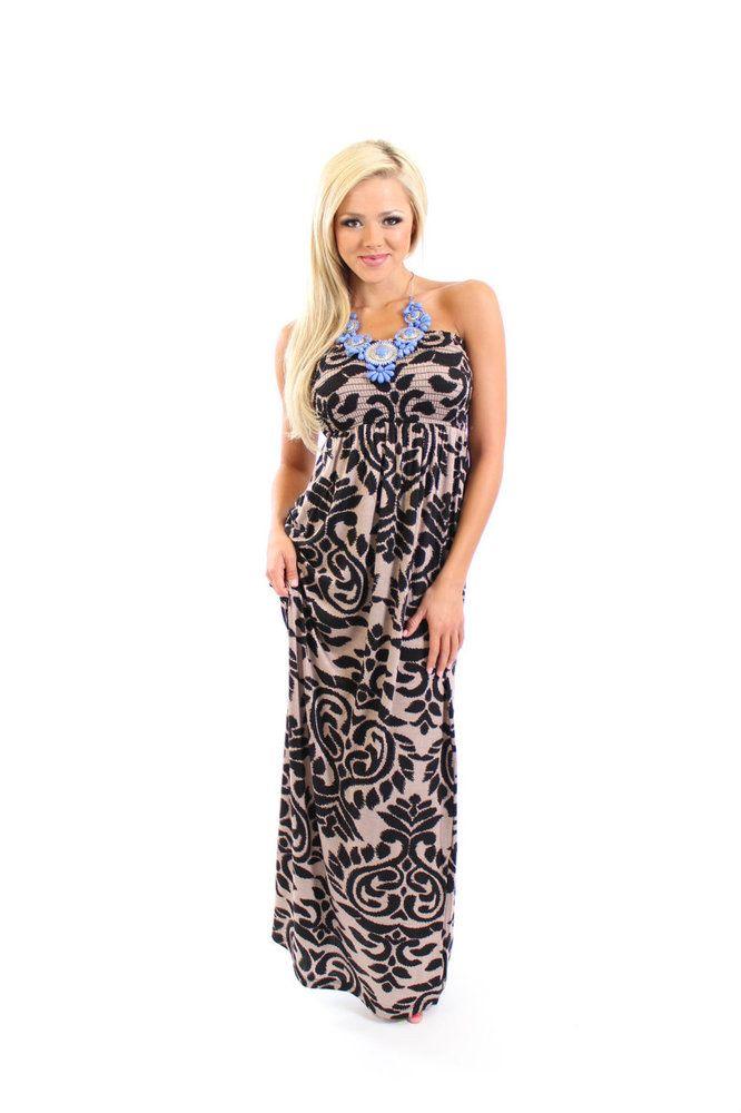 Modern vintage boutique dress me up in damask maxi 46 00 http