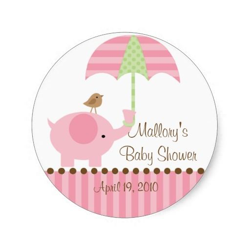 pink baby showers cute baby shower sticker featuring a sweet baby