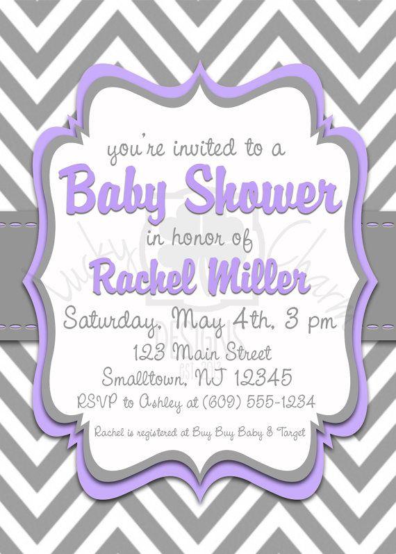 elegant purple and gray chevron baby shower invitation