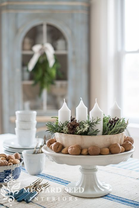 ring mold advent wreath - Miss Mustard Seed #christmasdecorating #adventwreath #holiday #ironstone