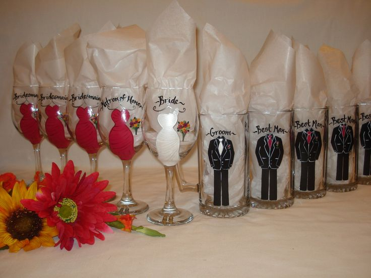 Hand painted personalized bridal party wine glasses custom dress st