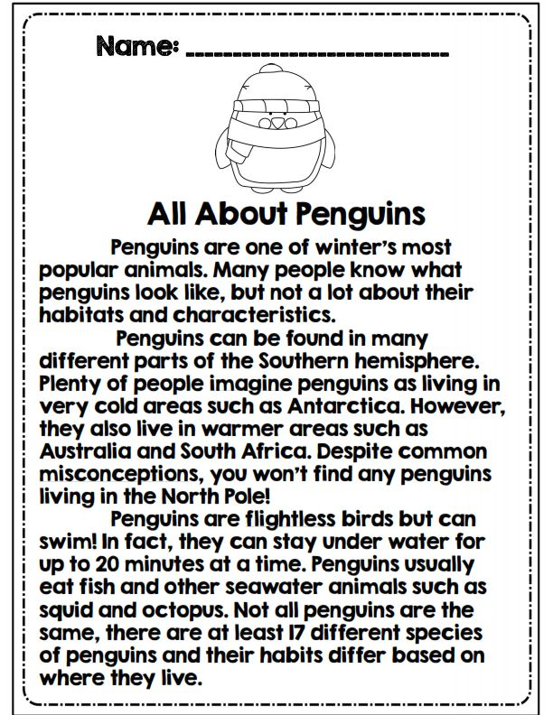 3rd grade reading passage all about penguins part of math/ela common ...