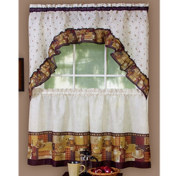 coffee kitchen curtain tier and swag set things i want