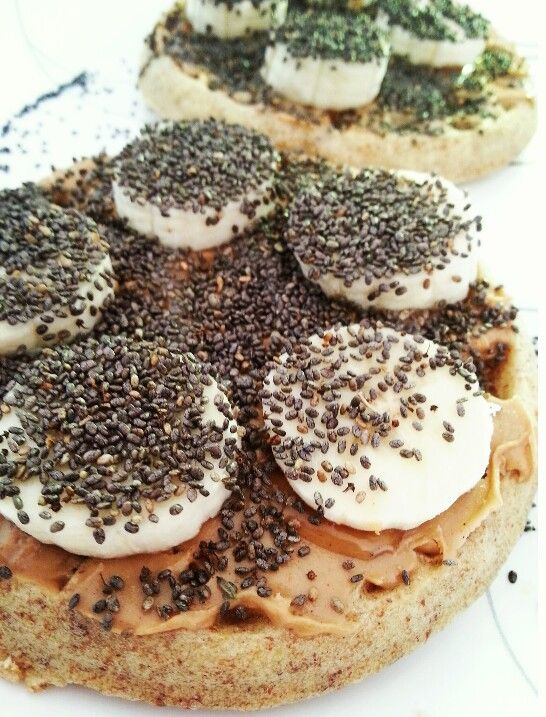 Whole grain waffles with peanut butter, honey, bananas, and chia seeds ...