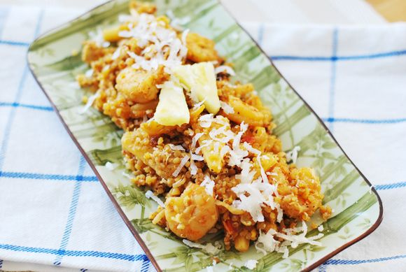 """Pineapple Coconut Shrimp """"Fried"""" Quinoa. Need to try the batter ..."""