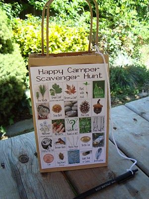 Camping Scavenger Hunt. Photos are from google image. This would be fun to do for a nature walk in our backyard!