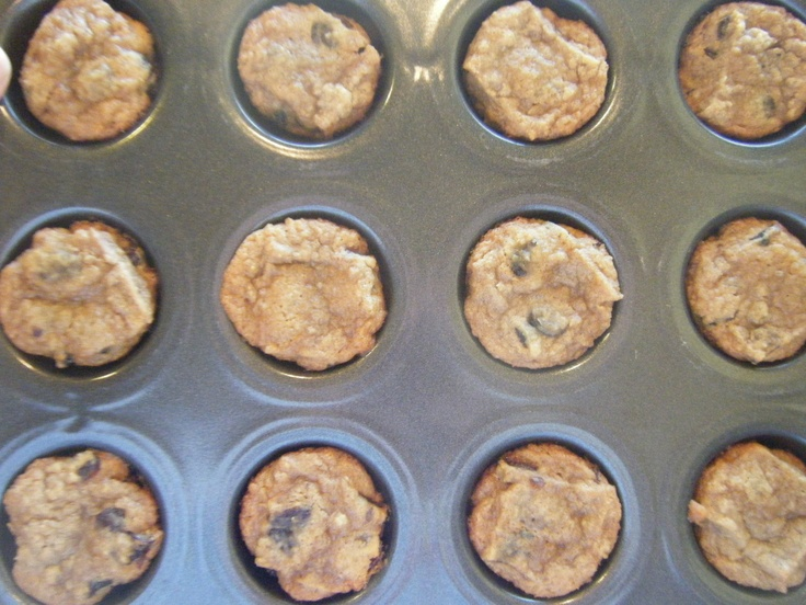 muffins you ask? no no, oatmeal raisin cookies baked in my mini muffin ...