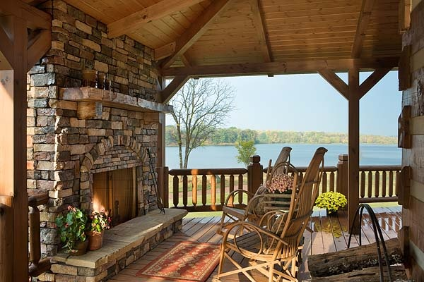 Log Cabin Porch With Fireplace Home Decor Pinterest